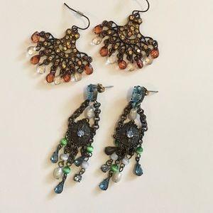 Jewelry - 2 pairs of vintage boho dangle earrings